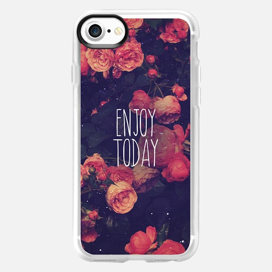 """Pink Rose Floral Vintage Photo Text Quote """"Enjoy Today"""" -"""