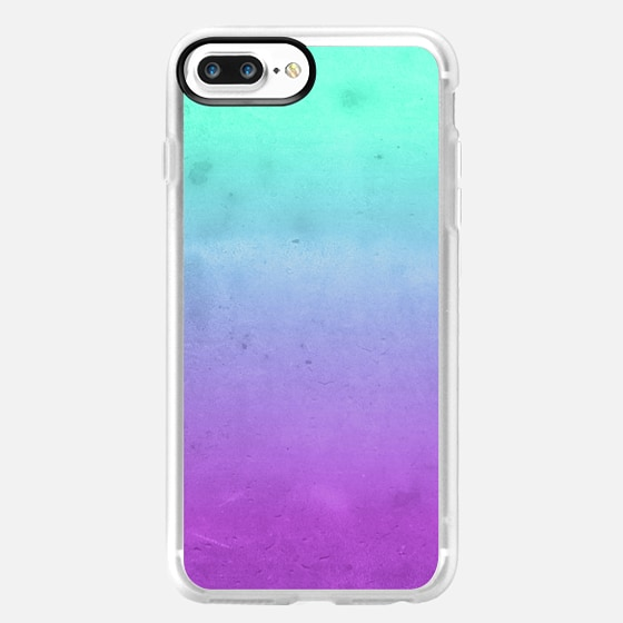 Cute Girly Colorful Purple Mint Turquoise Aqua Ombre Fade Gradient Grunge Texture - Classic Grip Case