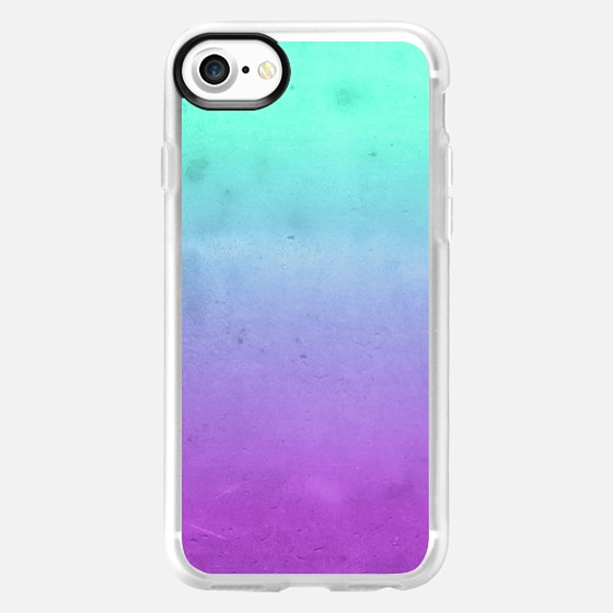 Cute Girly Colorful Purple Mint Turquoise Aqua Ombre Fade Gradient Grunge Texture - Wallet Case