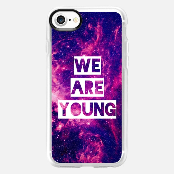 """We Are Young"" Purple Blue Pink Violet Space Galaxy Nebula Stars Photo Quote Text  - Wallet Case"