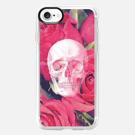 Cool Scary Girly Goth Grunge Red Pink Roses Rose Anatomy Skull Drawing Photo - Wallet Case