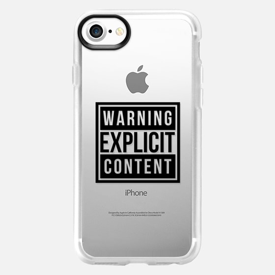 Cool Chic Transparent Sassy Funny Gold Warning Explicit Content Design - Wallet Case