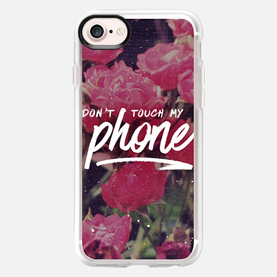 """Don't Touch My Phone"" - Pink Floral Flowers Grunge 90s Typography Design - Wallet Case"