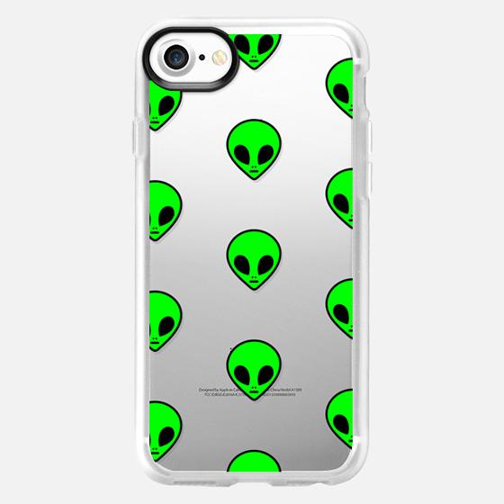 Cute Cool Funny Neon Green Transparent Space Alien Pattern Design - Wallet Case