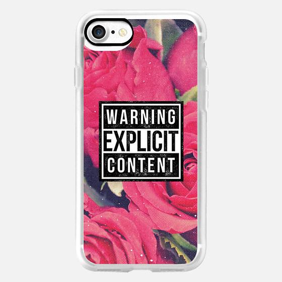 Cool Sassy 90s Grunge Aesthetic Warning Explicit Content Vintage Red Pink Roses Floral Flower Design -