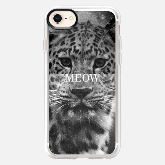 Cool Chic Girly Grunge Black White Leopard Big Cat Eyes Whiskers Meow Vintage Photo - Snap Case