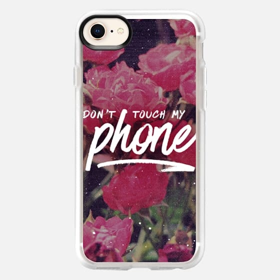 """Don't Touch My Phone"" - Pink Floral Flowers Grunge 90s Typography Design - Snap Case"