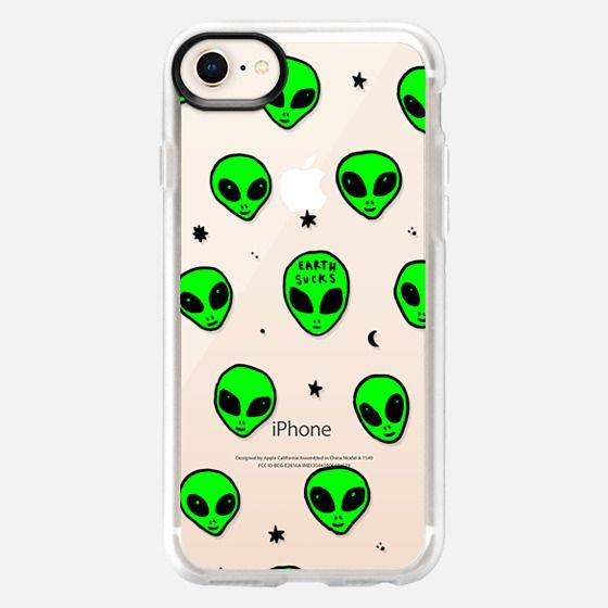 Cute Green UFO Space Alien Drawing Pattern - Snap Case