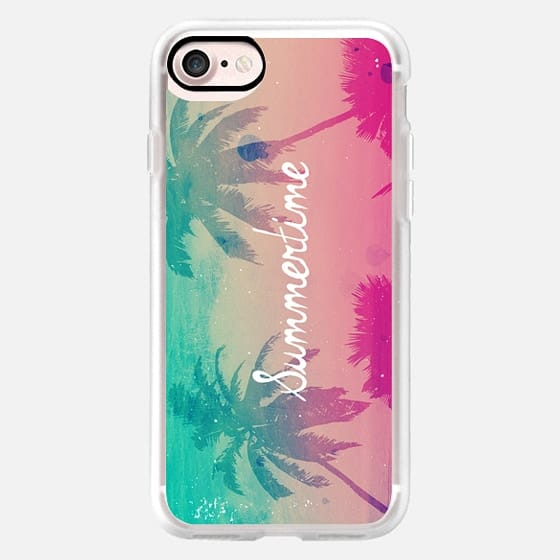 Cute Girly Tropical Beach Palm Trees Summertime Summer Sunset Turquoise Pink