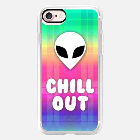 Alien Grunge Aesthetic Rainbow Plaid Colorful Chill Out Trippy Acid Psychedelic Hippie Boho 90s -