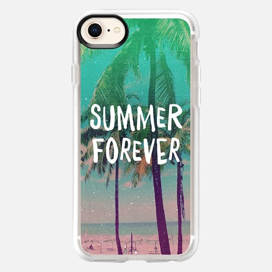 Summer Forever Palm Tree Beach Vintage Turquoise  - Snap Case