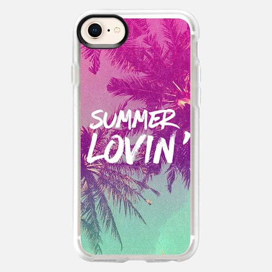 Pink Green Ombre Sunset Beach Tropical Palm Trees Summer Lovin'  - Snap Case