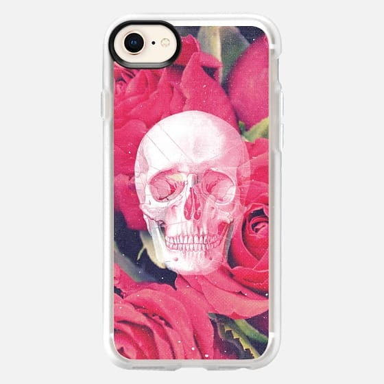 Cool Scary Girly Goth Grunge Red Pink Roses Rose Anatomy Skull Drawing Photo - Snap Case