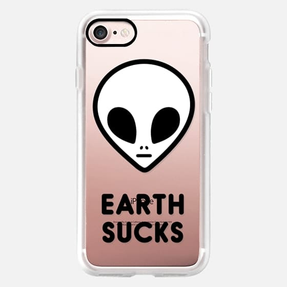 Funny Cool Cute Grunge Aesthetic Alien Face Black White Earth Sucks Extraterrestrial Design -