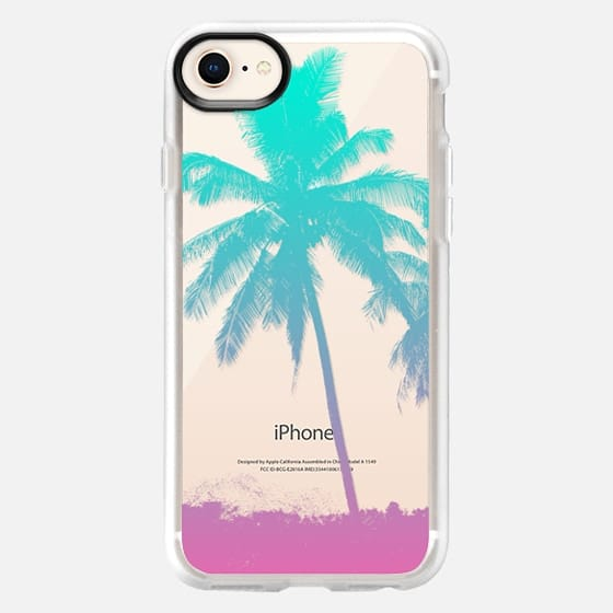 Tropical Summer Beach Palm Tree Neon Ombre Pastel Aqua Pink - Snap Case
