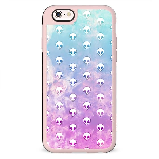 Colorful Pastel Cute Turquoise Pink Girly Alien Pattern Space Galaxy