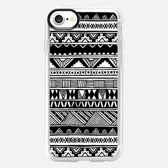 Cute Girly Black White Tribal Aztec Geometric Hand-drawn Pattern  -