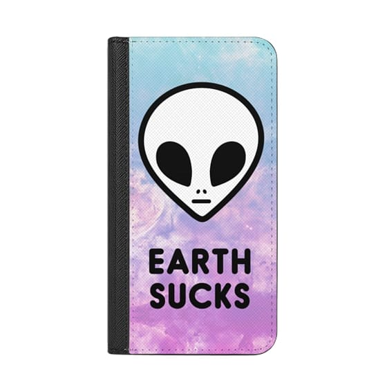 Wallet iPhone 8 Plus Case with RFID - Alien Grunge 90s Aesthetic Colorful  Cute Funny Space Galaxy