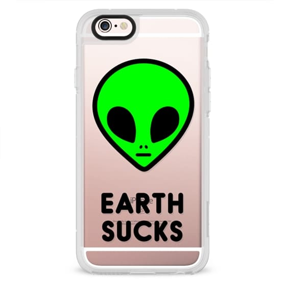 Cute Neon Green UFO Space Alien Face Earth Sucks Drawing