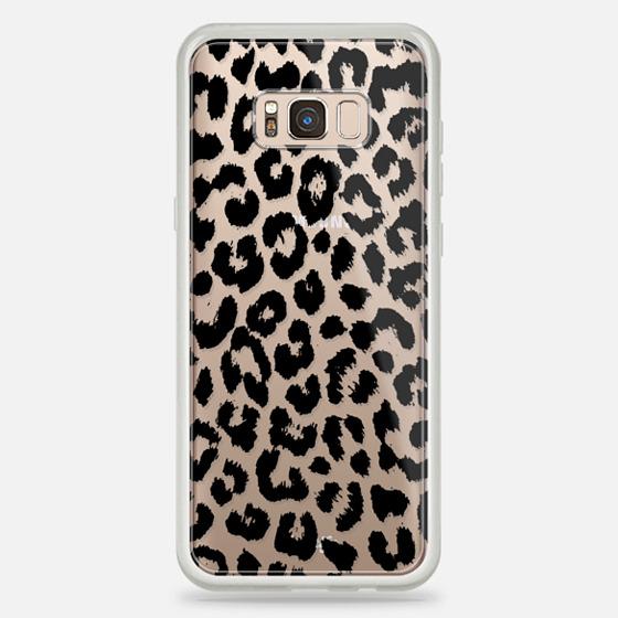 Galaxy S8+ Hülle - Black Transparent Leopard Print