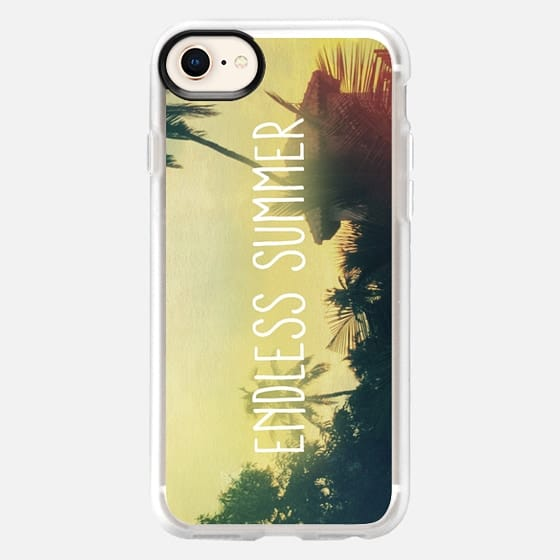 """Summer Sunset Palm Trees Beach Photo """"Endless Summer"""" Handwriting Script Quote Text Phrases - Snap Case"""