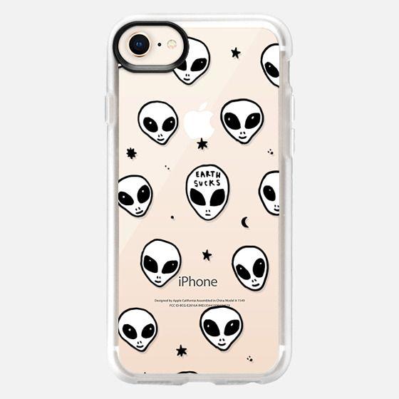 Cute White UFO Space Alien Drawing Pattern - Snap Case