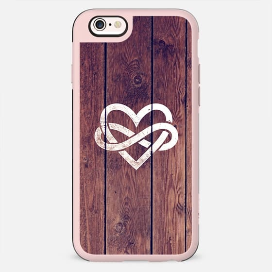 Brown Wood Grain Texture White Infinity Symbol Heart Love Forever -