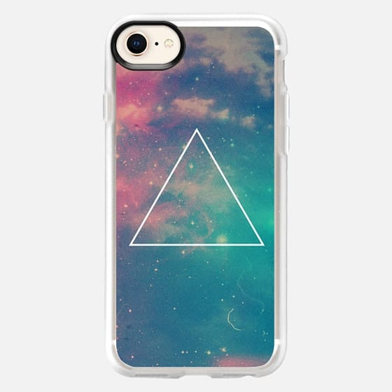 Colorful Cute Girly Turquoise Blue Pink Space Nebula Galaxy Sky Clouds Stars Photo Triangle - Snap Case