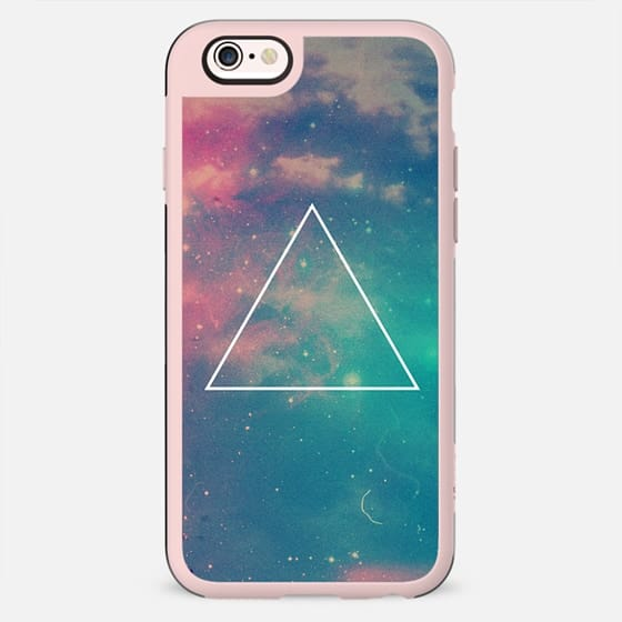 Colorful Cute Girly Turquoise Blue Pink Space Nebula Galaxy Sky Clouds Stars Photo Triangle