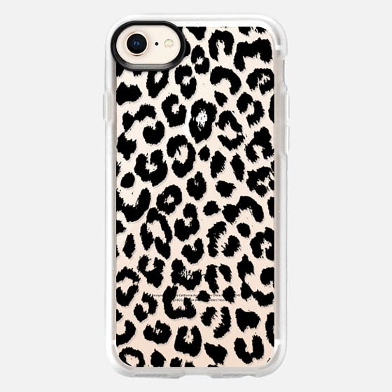 iPhone 8 保護殼 - Black Transparent Leopard Print