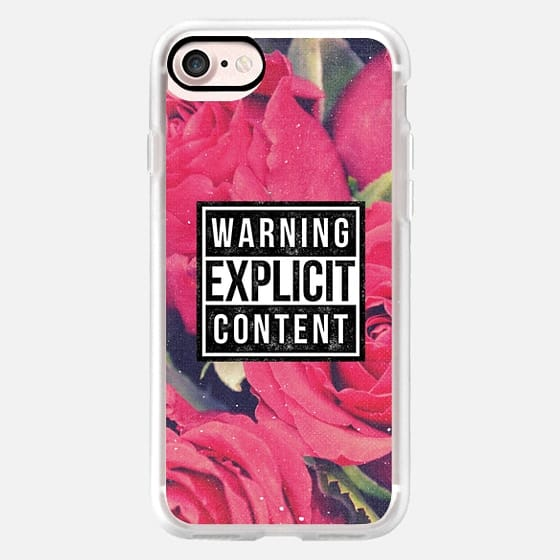 Cool Sassy 90s Grunge Aesthetic Warning Explicit Content Vintage Red Pink Roses Floral Flower Design -