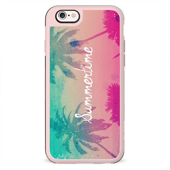Mint Aqua Pink Peach Summer Sunset Beach Palm Trees Silhouette Text Script Summertime