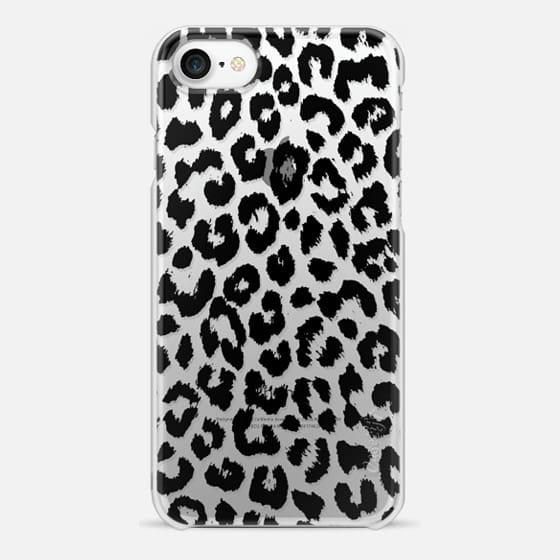iPhone 7 Case - Black Transparent Leopard Print