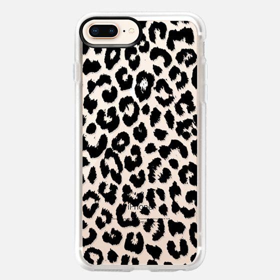 iPhone 8 Plus 保護殼 - Black Transparent Leopard Print
