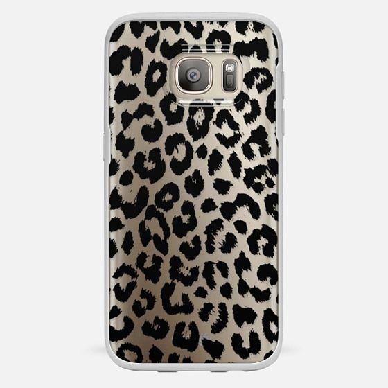 Galaxy S7 Capa - Black Transparent Leopard Print
