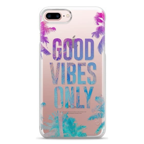 iPhone 7 Plus Cases - Transparent Tropical Summer Good Vibes Only