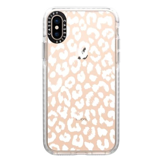 iPhone XS Cases - White Transparent Leopard Animal Print