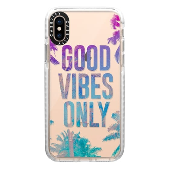 iPhone XS Cases - Transparent Tropical Summer Good Vibes Only