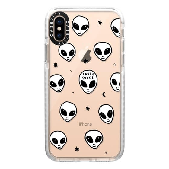 iPhone XS Cases - Cute White UFO Space Alien Drawing Pattern