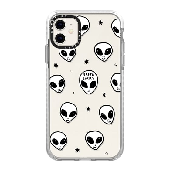 iPhone 11 Cases - Cute White UFO Space Alien Drawing Pattern