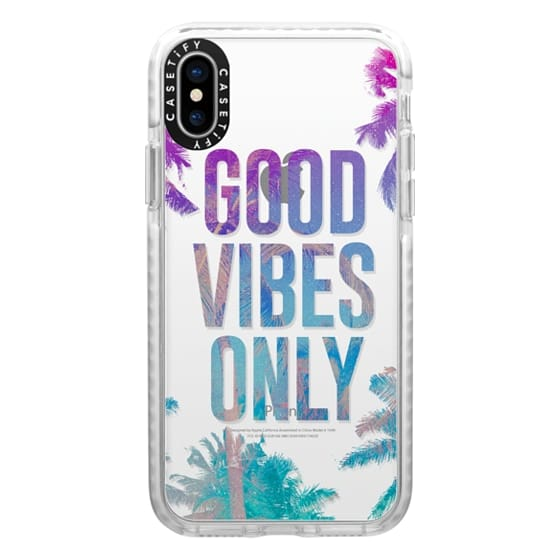 iPhone X Cases - Transparent Tropical Summer Good Vibes Only