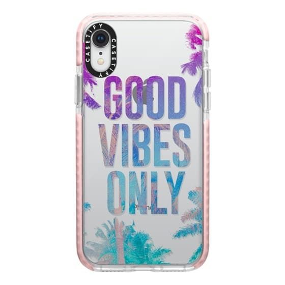 iPhone XR Cases - Transparent Tropical Summer Good Vibes Only