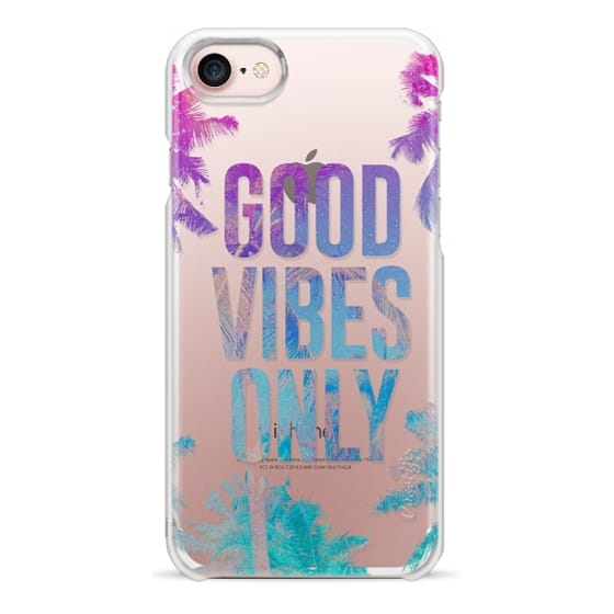 iPhone 7 Cases - Transparent Tropical Summer Good Vibes Only