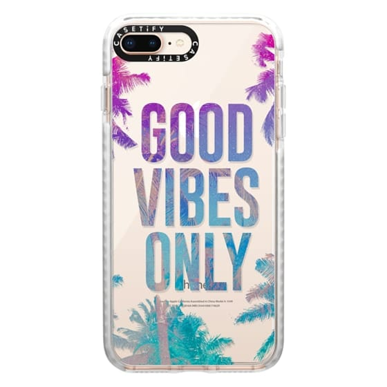 iPhone 8 Plus Cases - Transparent Tropical Summer Good Vibes Only