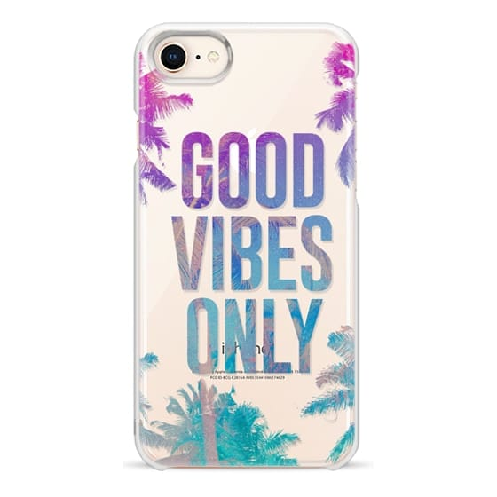 iPhone 8 Cases - Transparent Tropical Summer Good Vibes Only
