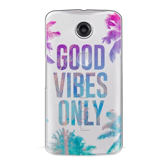 Nexus 6 Cases - Transparent Tropical Summer Good Vibes Only