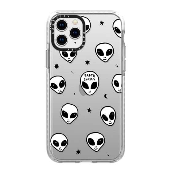 iPhone 11 Pro Cases - Cute White UFO Space Alien Drawing Pattern
