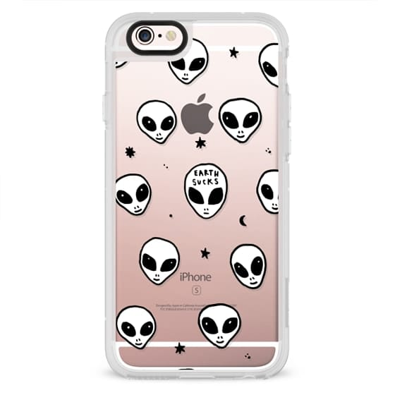 Neon iPhone 8 Plus Case , Cute White UFO Space Alien Drawing Pattern