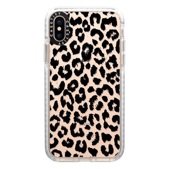iPhone XS Cases - Black Transparent Leopard Print