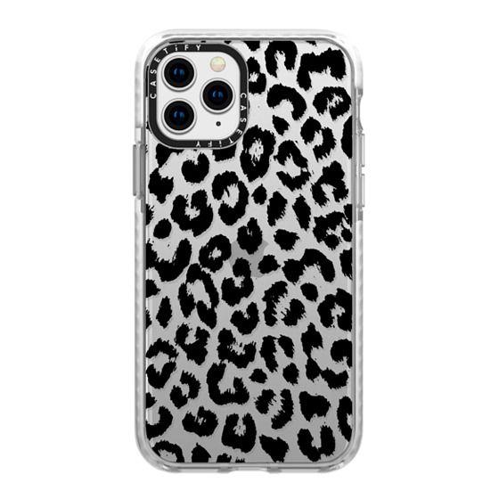 iPhone 11 Pro Cases - Black Transparent Leopard Print